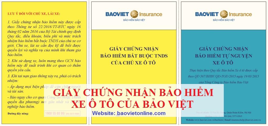 Giấy chứng nhận bảo hiểm ô tô 2 chiều tại Bảo Việt