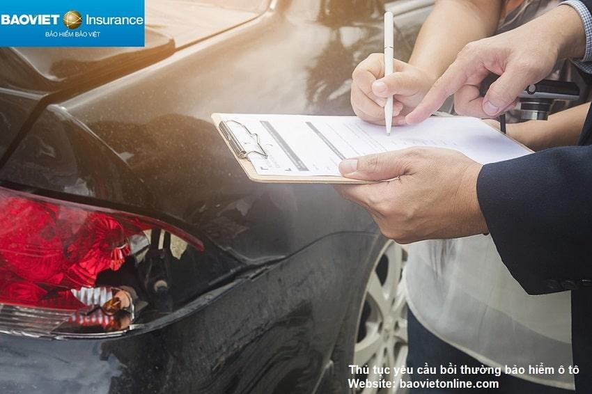 thủ tục yêu cầu bồi thường ô tô